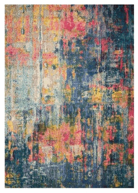 """Nourison Celestial Blue And Yellow Area Rug, 7&x27;10""""x10&x27;6""""."""
