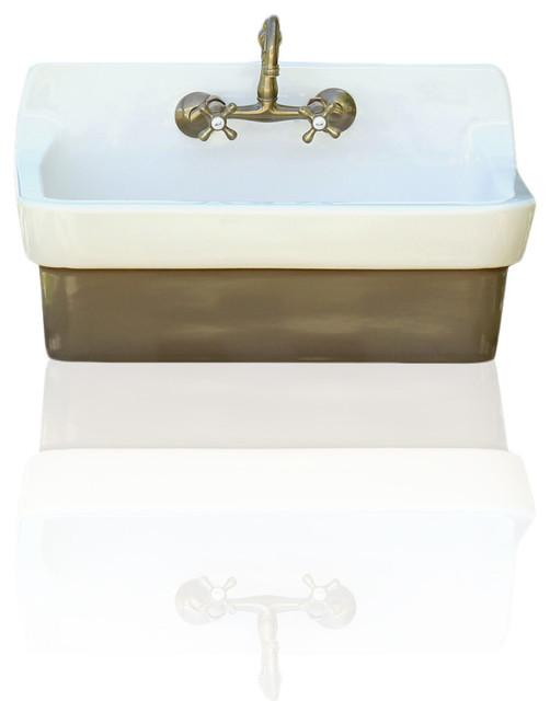 Charmant Vintage Style High Back Farm Sink Original Finish Apron Utility Sink, Brown
