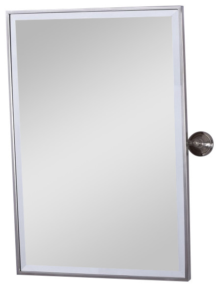 19x28 Tilting Mirror Rectangular Pivot Arms Brushed Nickel Finish Traditional