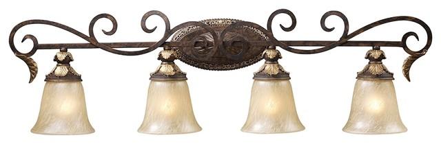 Victorian 4 Light Vanity Light in Burnt Bronze Finish