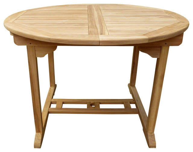 Seven Seas Teak Round Extension Table   Transitional   Outdoor Dining Tables    By Chic Teak
