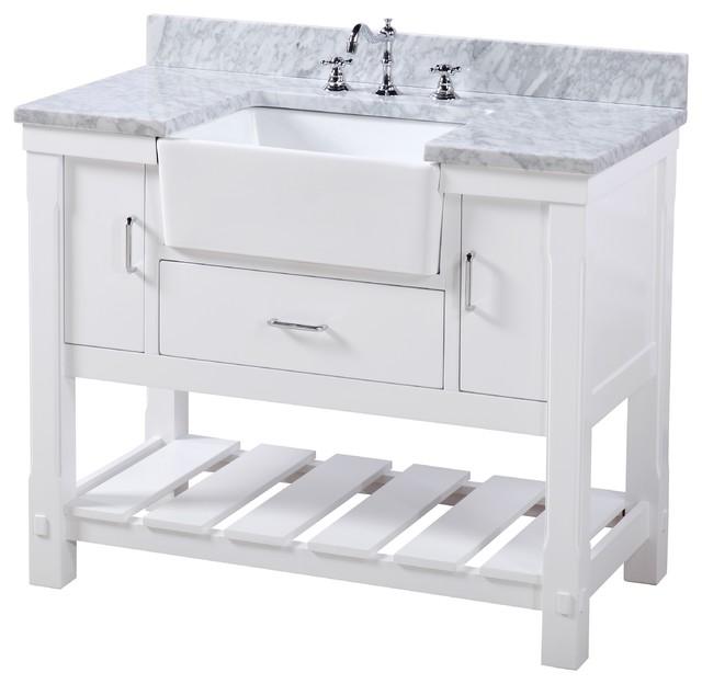 """Charlotte Bathroom Vanity, White, 42"""", Carrara Marble Top, Single Sink"""