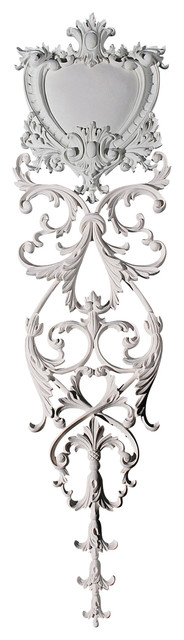 Heart Shaped Shield And Swag With Vertical Leaf Pattern Drop.
