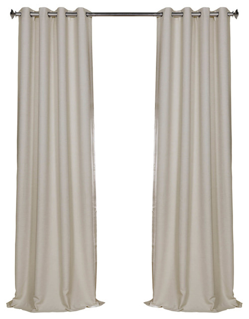 Cottage White Bellino Grommet Blackout Curtain Single Panel Transitional Curtains By Half