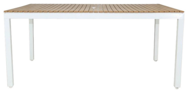 Riviera Outdoor Faux Wood Rectangular Dining Table, White.