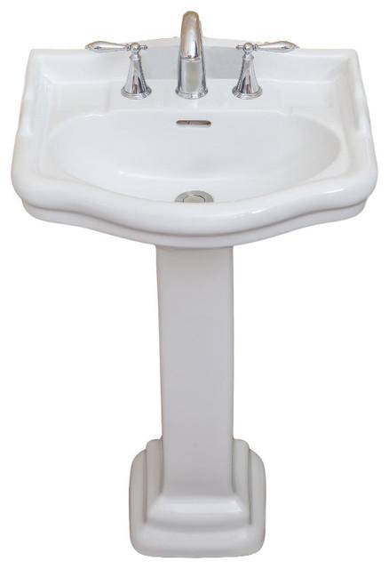 "Roosevelt Pedestal Sink Only, White, 8"" Faucet Spread, 22"" Sink"