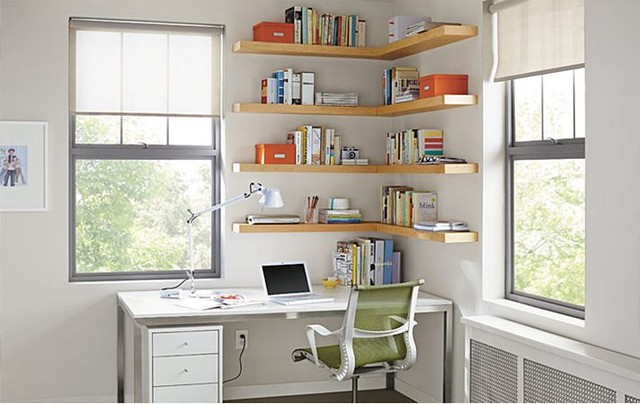 wall shelves for office. float wood wall shelves office by ru0026b modernhomeofficeandlibrary for houzz