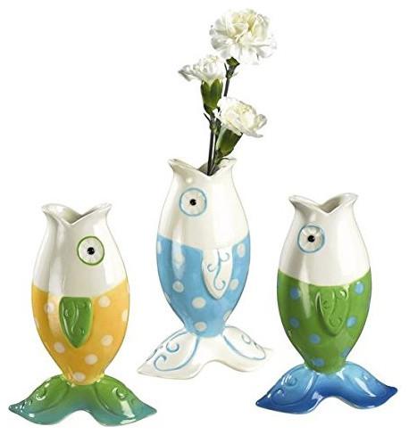 Silly Beach Themed Fish Posie Vases 3 Piece Set Beach Style