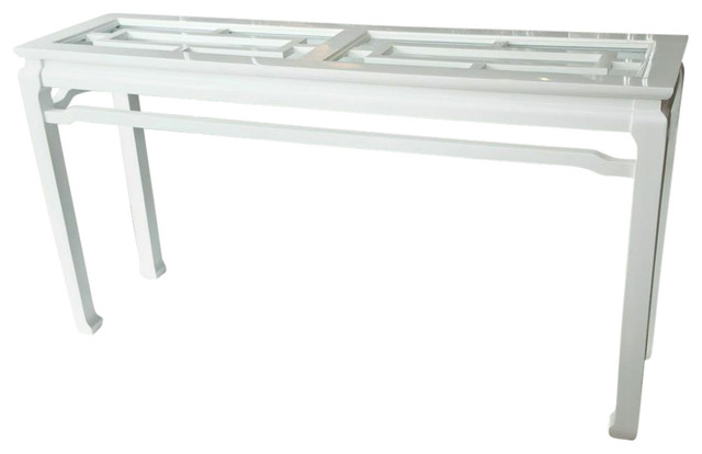 Mid Century Asian Style Lacquered Console Console Tables by
