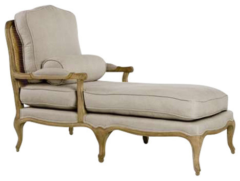 Linen Chaise Lounge, Cane And Oak.