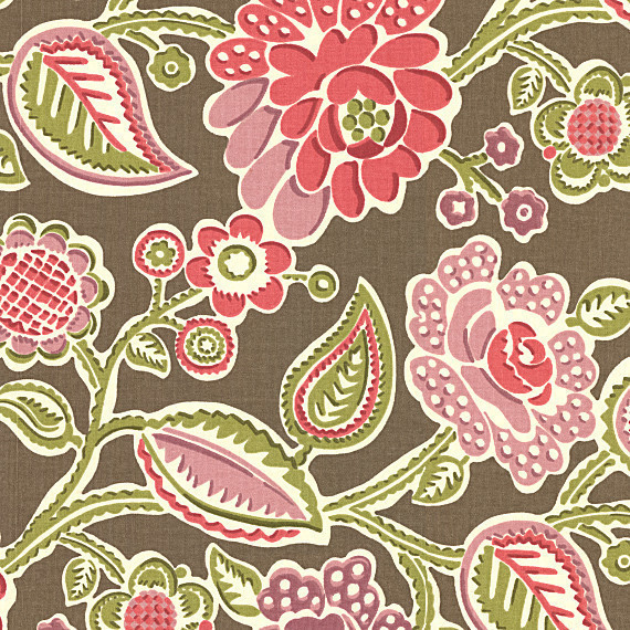 Pink And Green Playful Fl Fabric Modern Drapery By Loom Decor