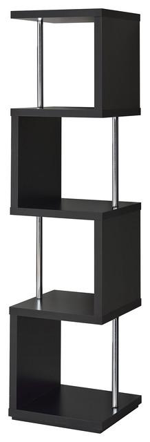Modern 4-Tier Bookcase, Display Shelf, Chrome Supports, Black.