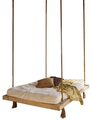 Nautical&x27;s Twin Swingbed, Natural, Cypress Wood.