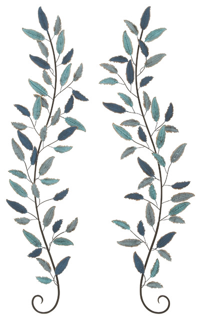 "Benzara Metal Leaf Wall Decor, Set Of 2, 16""x59""."