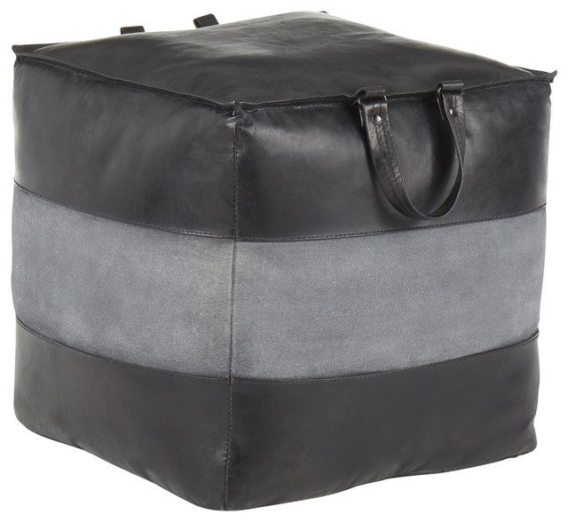 Cobbler Industrial Pouf, Black Leather and Gray Canvas