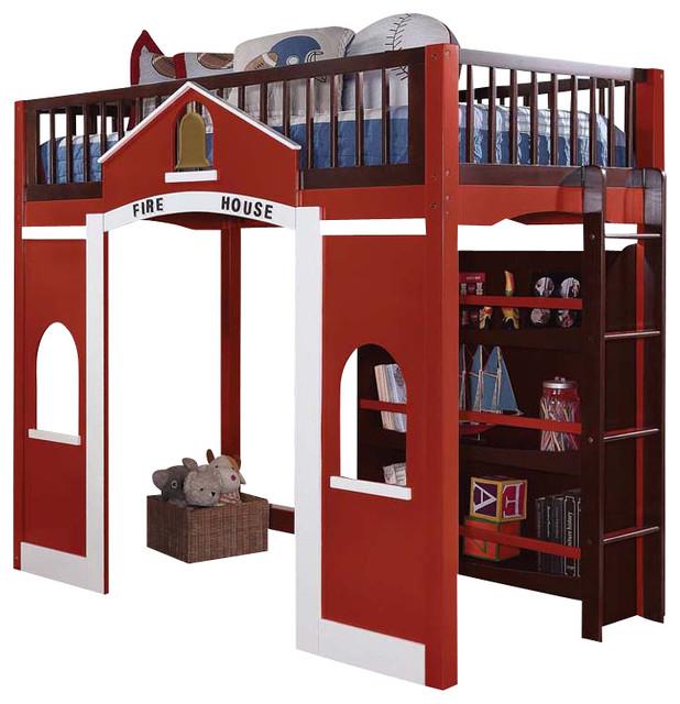 Modern Stylish Espresso Red Twin Loft Bed Built, Ladder Storage Bookcase Shelf