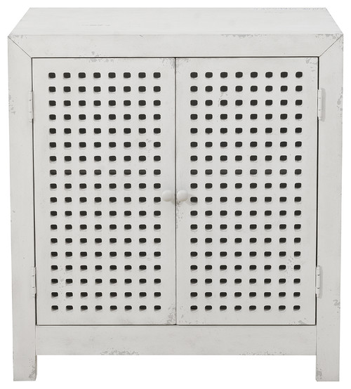 2-Door Pierced Grid Accent Chest, Farmhouse White