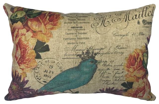 Blue Bird Linen Pillow.