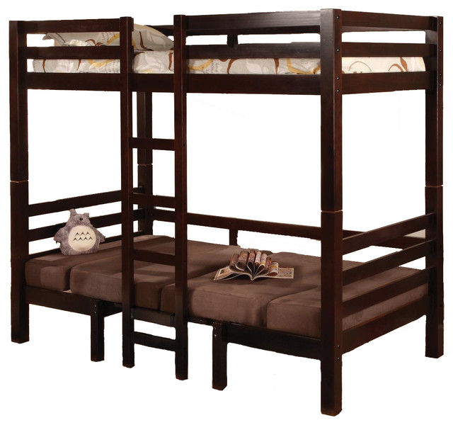 Twin Over Twin Convertible Bunk Loft Bed Youth Bunkbed Table Bench,  Cappuccino Contemporary Bunk
