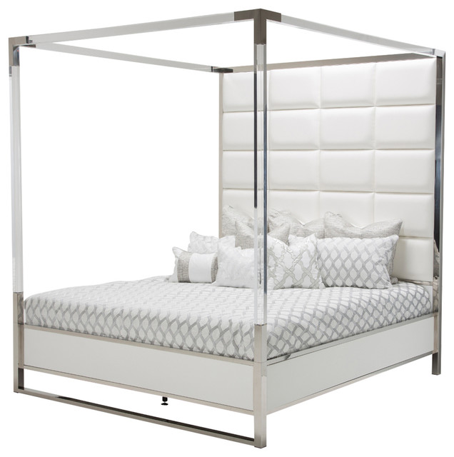 Aico Michael Amini State St. Metal Canopy Bed, White, King.