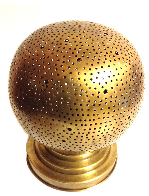 Moroccan Large Perforated Metal Brass Sphere Table Lamp Traditional Table  Lamps