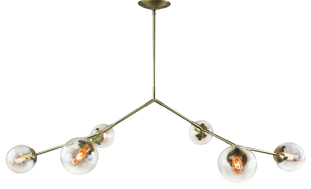 Bistro Globe Bath Sconce 4 Light: Branching Chandelier Clear Bubble Glass 6 Globes