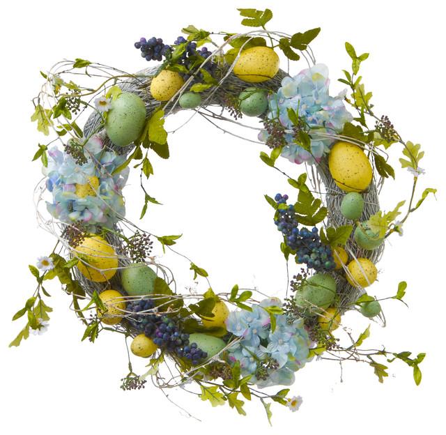 18 Easter Eggs And Hydrangeas Wreath.