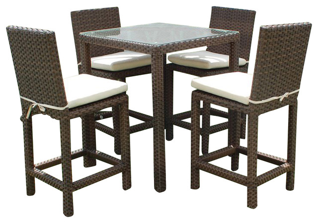 Monza 5-Piece Wicker Square Patio Bar Set With Off-White