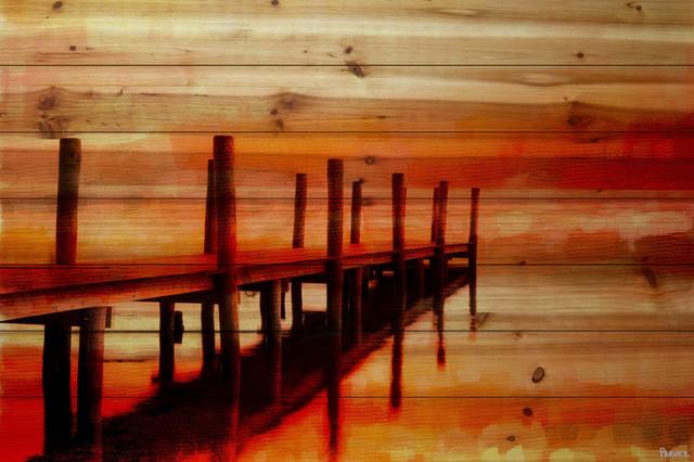 """sunset Dock"" Print On Natural Pine Wood, 60""x40""."
