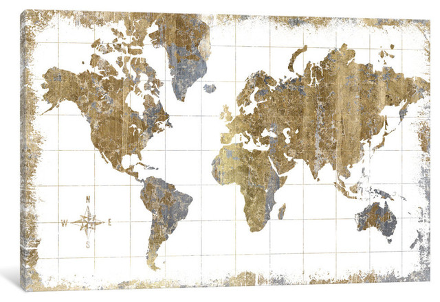 """""""gilded Map"""" By All That Glitters, 40""""x26""""x.75""""."""
