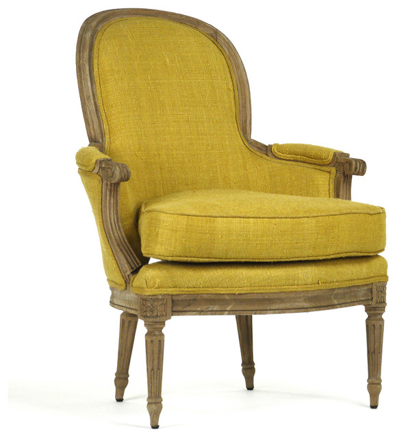 Emeze French Country Saffron Yellow Carved Wood Bergere Club Chair