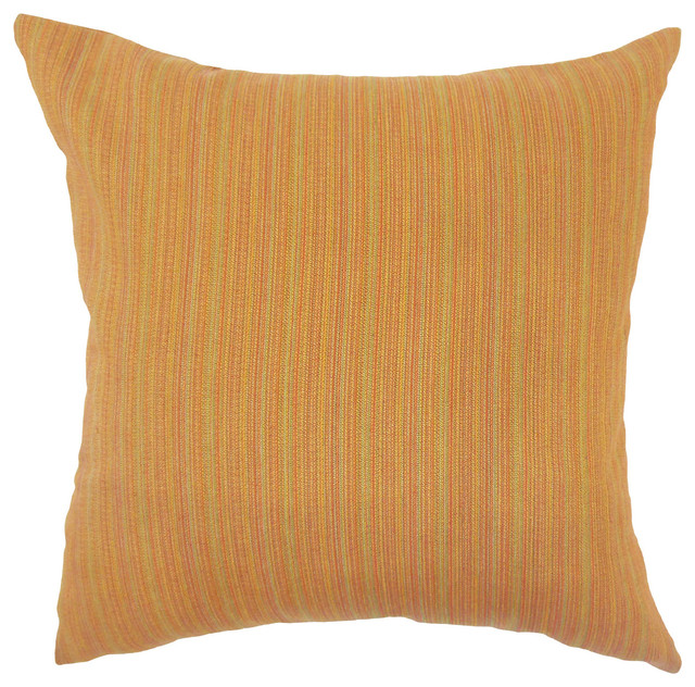 "Kaveri Striped Down Filled Throw Pillow, Orange, 20""x20"""
