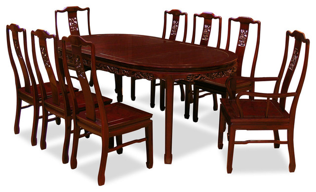 80 Rosewood Dining Table Set With 8 Chairs Dragon Design Asian Sets By China Furniture And Arts