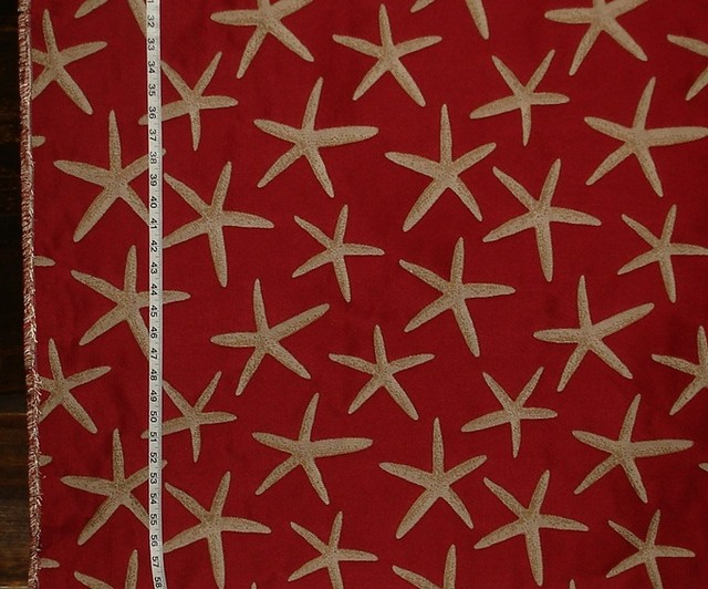 Red Starfish Fabric Sea Star Upholstery Beach Style Upholstery