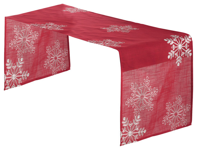 embroidered white snowflake holiday christmas red table runner