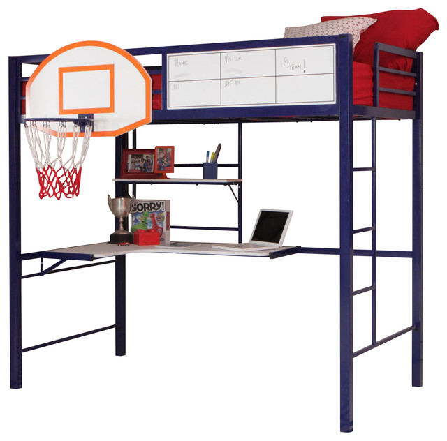 Youth Hoops Metal Basketball Blue Bunk Loft Bed w Workstation