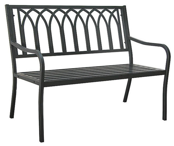 Lakeside Steel Bench, Matte Black.