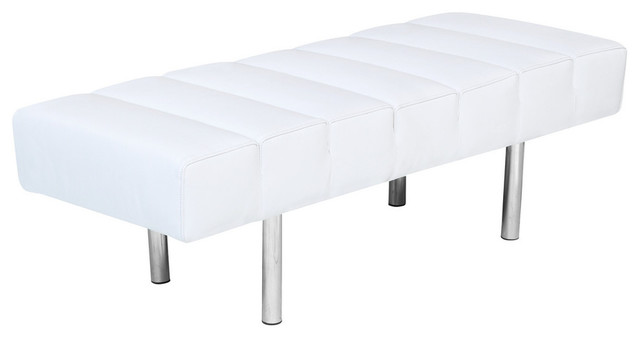 Classic Leather Bench 2 Seater, White. -1