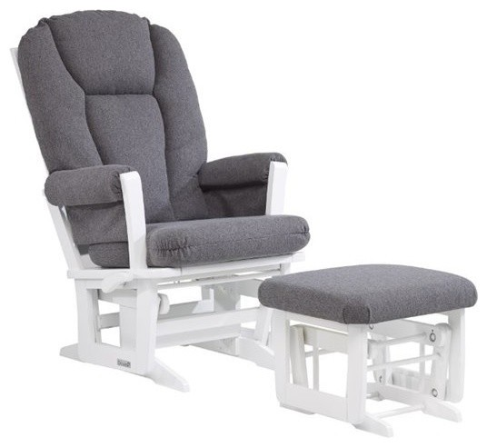Dutailier Ultramotion Multiposition Glider And Nursing Ottoman, Gray.