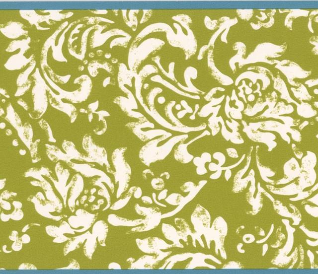 Modern White Floral Pattern Mustard Yellow Damask Wallpaper Border Retro Design