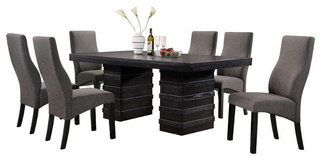 Cappuccino Finish Wood Wave Design Dining Room Kitchen Table And 6 Chairs  Contemporary Dining