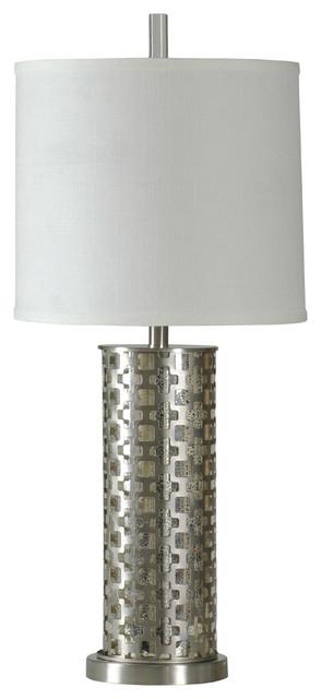 Estero Table Lamp, Brushed Steel Finish, White Hardback Fabric Shade.