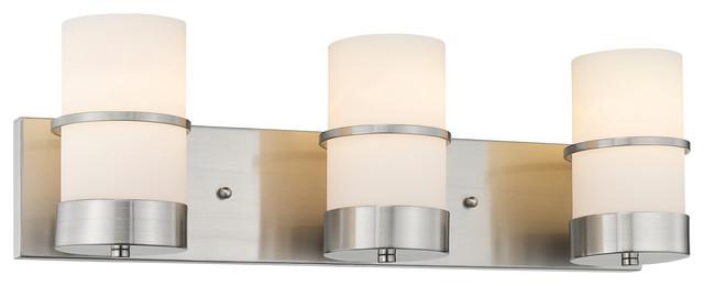 Penelope 3-Light Brushed Nickel Bath Vanity-Light Etched White Glass 23.