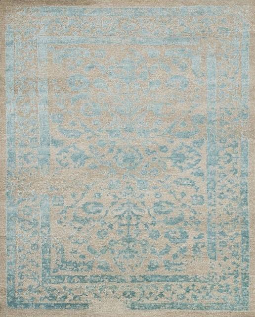 Pasargad Sari Silk Aqua Area Rug Transitional Cyrus 7u00279