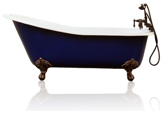 Cobalt antique style cast iron porcelain clawfoot bathtub for Porcelain bathtubs for sale