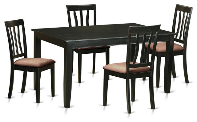 dining table set black 5 pieces microfiber transitional dining sets