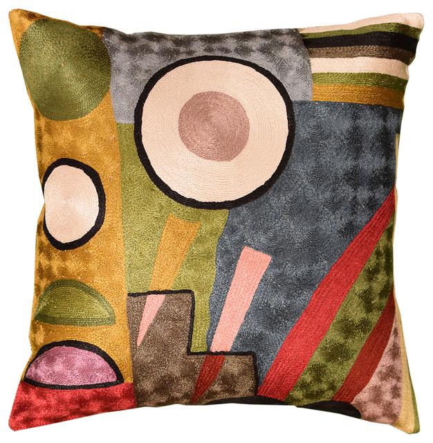"Kandinsky Soul Flood Iii Decorative Pillow Cover Silk Hand Embroidered 18""x18""."