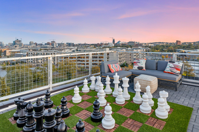 deck with large life sized giant chess game