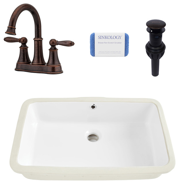 Carder Rectangle Undermount Bathroom Sink, White, Courant Rustic Bronze Faucet