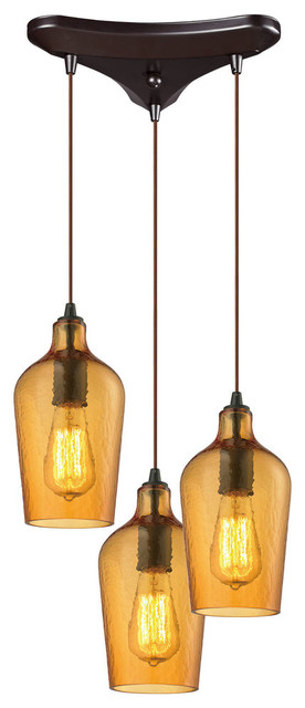 Hammered Glass 3-Light Pendant, Oil Rubbed Bronze And Hammered Amber.